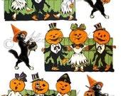 Printable Vintage Halloween Clip Art Pumpkin Dance Party Printable Retro Scraps Black Cat Puppet Digital Collage Sheet Instant Download
