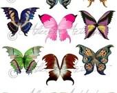 Printable Fairy Wings Digital Fairy Wings Printablel Magical Wings Digital Wild Wings Collage Sheet Instant Download