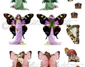 Printable Fairy Paper Doll Printable Paper Fairy Puppet Printable Magical Fairy Wings Fairies Digital Puppet Collage Sheet Instant Download