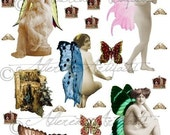Printable Risque Fairy Paper Doll Garden Fairy Paper Dolls Nicely Nude Printable Fairy Puppets Digital Wings Collage Sheet Instant Download