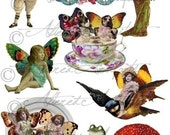 Printable Fairy Paper Doll Printable Paper Fairy Puppet Fairyland Frolics Wings Fairies Digital Puppet Collage Sheet Instant Download