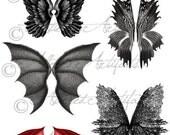 Printable Wings Wicked Witch Scary FairyWings Printable Dragon Wings Bat Vintage Halloween Clip Art Scrap Digital Collage Sheet Download
