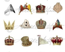 Printable Hats Clip Art Paper Doll Hats Printable Vintage Scrap Crowns Caps Printable Mixed Media Digital Collage Sheet Instant Download
