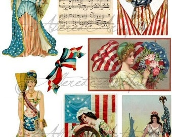 Printable Liberty 4th Of July USA Red White and Blue Parade Vintage Postcard Scraps Paper Doll Digital Collage Sheet Download