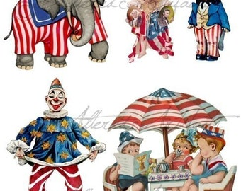 Printable Circus Clowns Paper Doll 4th Of July Red White Blue Vintage Circus Clown Scraps Clip Art Digital Collage Sheet Instant Download