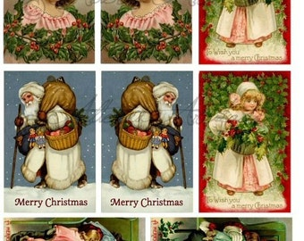 Instant Download Christmas Ornaments  Vintage Postcard Reverse Text Front Back Reversable Digital Collage Sheet