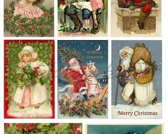 Instant Download Vintage Postcards Night Before Christmas Altered Art Digital Collage Sheet