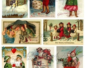 Instant Download Let It Snow Christmas Vintage Postcard Altered Art Digital Collage Sheet