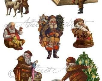 Instant Download Santa's Story Vintage Scraps Christmas Altered Art Digital Collage Sheet Clip Art