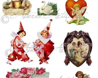 Instant Download Nostalgic Valentine Vintage Digital Collage Sheet