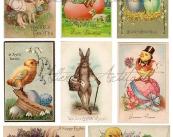 Instant Download Hoppy Easter Vintage Scraps Bunny Love Digital Collage Sheet