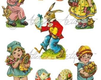 Instant Download Vintage Easter Scraps Egg Hunt Bunny Digital Clipart Collage Sheet
