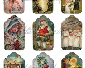Instant Download Aged Christmas Holiday Vintage Antique Santa Angel Children Nativity Digital Collage Sheet Gift Tags Altered Atc Aceo Album