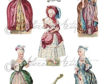 Marie Antoinette Printable Paper Doll And Her Court Printable Paper Dolls Vintage Scraps Paper Doll Digital Collage Sheet Instant Download