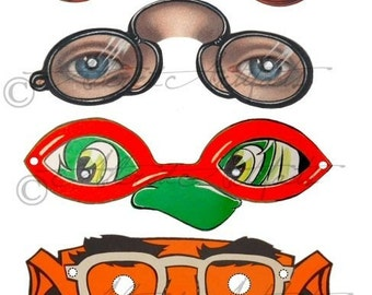 Printable Vintage Halloween Masks Printable Party Favor Eye Glasses Clipart Scraps Halloween Party Digital Collage Sheet Instant Download