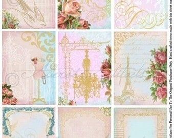 Printable ATC's Vintage Shabby Chic Printable Paris Floral ATC Backgrounds Printable Royal Roses Frame Tags Collage Sheet Instant Download