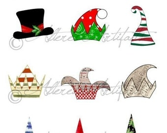Printable Christmas Hat Printable Art Paper Doll Hats Printable Altered Art Doll Hats Printable Digital Collage Sheet Instant Download