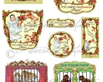Printable Vintage Perfume Label French Fragrance Bottle Label Pierrot Circus Wagon Clowns Jesters Digital Collage Sheet Instant Download