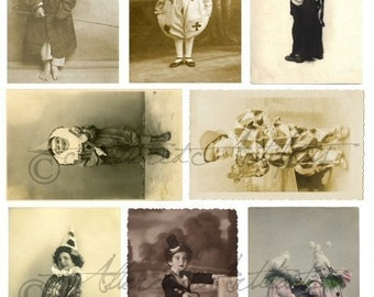 Printable Vintage Sepia Photo's Printable Circus Clown Pierrot Postcards ATC Clip Art ACEO Scraps Digital Collage Sheet Instant Download
