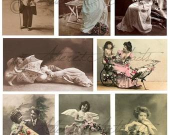 Instant Download Be Mine Vintage Valentine Post Cards Digital Collage Sheet