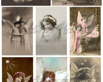 Instant Download Littlest Angels Christmas Digital Collage Sheet