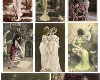 Instant Download Whimsical Women Vintage Postcard Digital Collage Sheet Victorian Clip Art