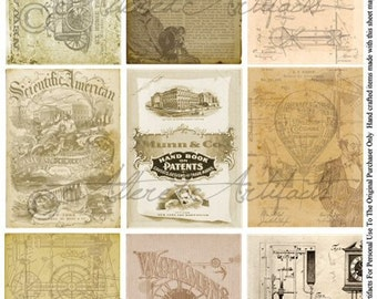 Instant Download Download U S Patent Vintage Steampunk ATC Blueprints Sepia Tones Aged Stained Antique Books Journals Albums Collage Sheet