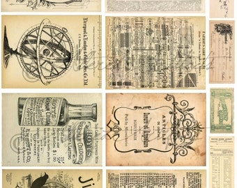 Instant Download Music Book Pages Vintage Trade Background Sepia Tones Altered Art Aged  Mixed Media Antique Tags ATC Digital Collage Sheet