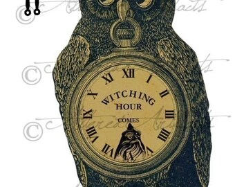 Printable Vintage Owl Sign Clock Printable Halloween Witching Hour Pocket Watch Clipart Party Decoration Digital Collage Sheet Download
