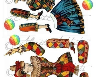 Printable Vintage Paper Puppet Printable Antique Puppet Just Jesters Articulated Clown Puppet Jumping Jack Collage Sheet Instant Download