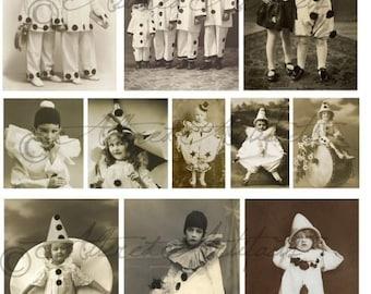 Printable Vintage Sepia Photo's Printable Circus Clown Pierrot Postcards ATC Clip Art Pantomime Mime Digital Collage Sheet Instant Download