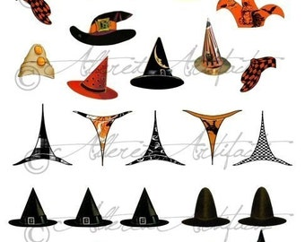 Printable Halloween Hats Vintage Paper Doll Hats Printable Witch Hat Halloween Clip Art Scrap Ghoul Digital Collage Sheet Instant Download