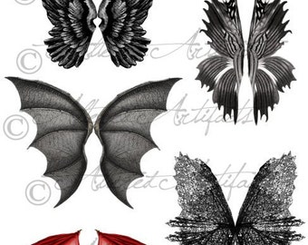 Printable Wings Wicked Witch Scary FairyWings Printable Dragon Wings Bat Vintage Halloween Clip Art Scrap Digital Collage Sheet Download