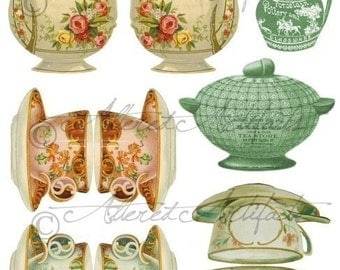 Tea Time Printable Vintage Victorian Trade Card Printable Digital Scraps Tea Cup Tea Pot Altered Art Digital Collage Sheet Instant Download