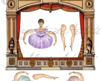 Printable Ballett Paper Puppet Theater Vintage Printable Night At The Ballett Theater Model Toy Digital Collage Sheet Instant Download