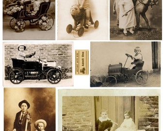 Instant Download Antique Auto Old Photo Tinprints Just Get Me There Vintage Clip Art Postcard Child Steam Punk Steampunk Digital Sheet