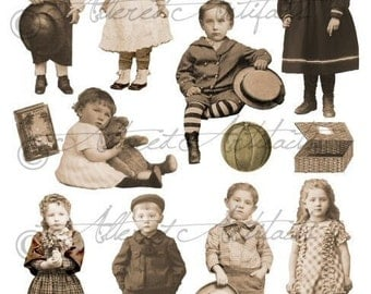 Vintage Printable Sepia Paper Doll Puppet Printable Steampunk Pape Dolls Photo Tinprints Digital Collage Sheet Download Instant Download