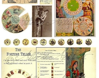 Printable Fortune Teller Printable Vintage Postcard Game Halloween ATC Clip Art ACEO Scraps Clip Art Digital Collage Sheet Instant Download