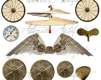 Vintage Steampunk Junk Printable Scrap Printable Steampunk Wings Hardware Steampunk Clip Art Elements Digital Collage Sheet Instant Download