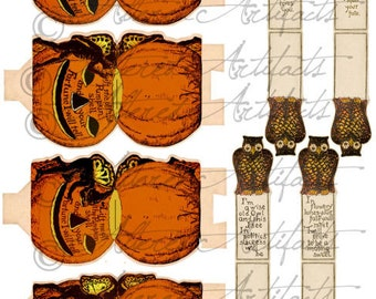Printabe Fortune Game Retro Beistle Place Cards Vintage Halloween Pumpkin Fairy Owl Printable Partiy Favor Digital Collage Sheet Download