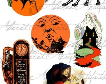 Printable Halloween Clip Art Scared Silly Ghosts Printable Vintage Halloween Scraps Digital Collage Sheet Instant Download
