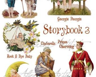 Instant Download Storybook 3 Vintage Altered Art Digital Sheet Puppet Man In Moon Cinderella Prince Charming Georgie Peorgie Rock A Bye Baby
