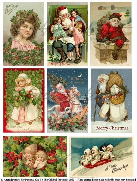 Vintage Postcards Night Before Christmas Altered Art Digital Collage Sheet