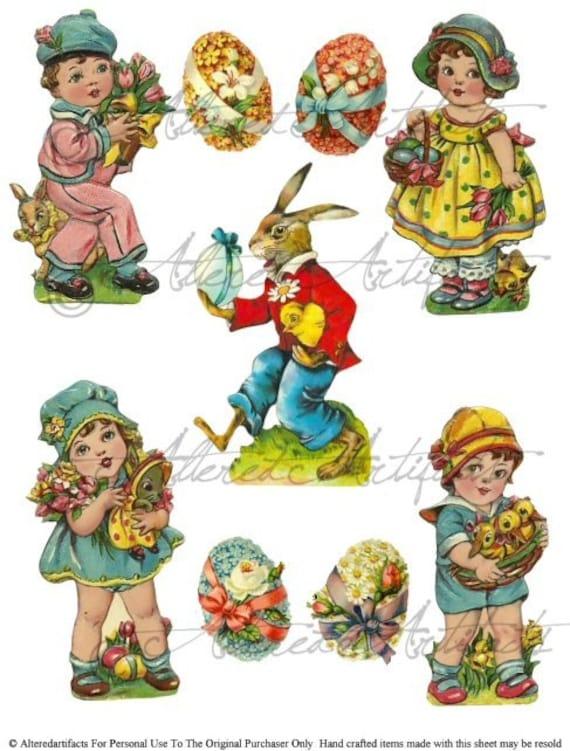 Vintage Easter Scraps Egg Hunt Bunny Digital Clipart Collage Sheet Download