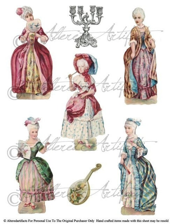 Marie Antoinette And Her Court Vintage Scraps Paper Doll Digital Collage Sheet Download