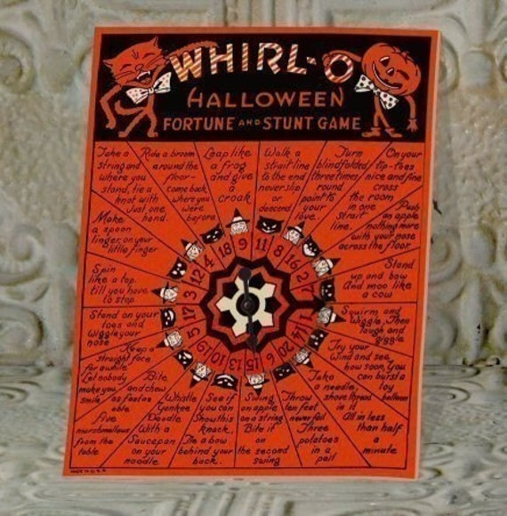 Vintage Whirl-O  Halloween Fortune and Stunt Game Wheel for Parties Favors Scraps Clipart Digital Collage Sheet Download