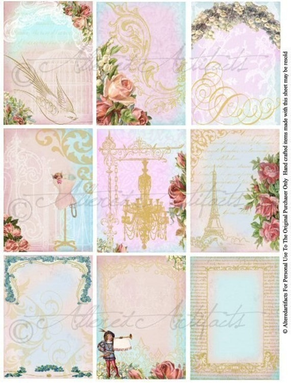 Shabby Chic Vintage ATC Backgrounds Frames Altered Art Mixed Media Antique Postcards Tags Books Journals Albums Digital Collage Sheet