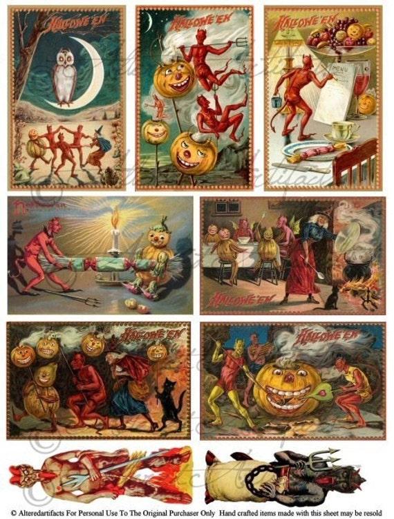 Printable Vintage Halloween Postcard Printable Halloween Devil Made Postcard Witch Scraps Clipart Digital Collage Sheet Download