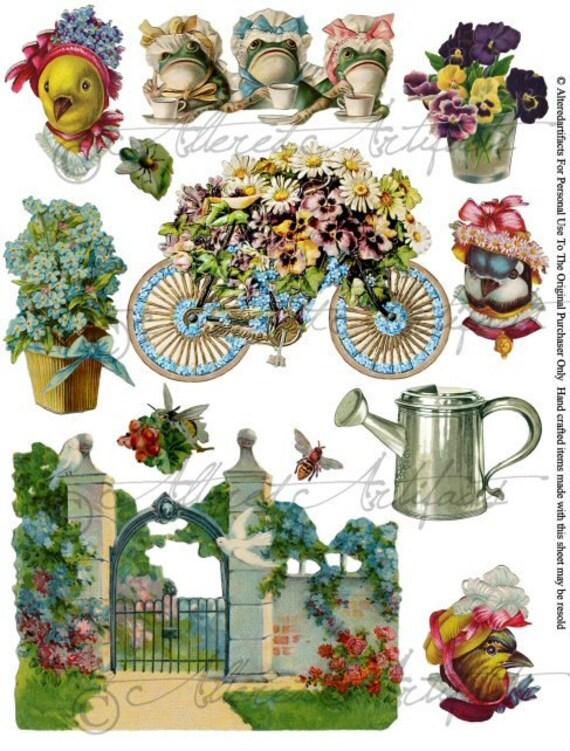 Garden Party Dressed Frogs Dressed Birds Floral Flowers Tea Digital Collage Sheet Vintage Clip Art