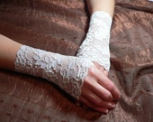 IVORY LYCRA LACE FINGERLESS GLOVES-Ready to ship